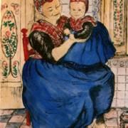 Zittende Staphorster moeder met kind in interieur